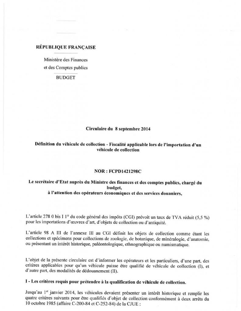 circulaire du 8 septembre 2014 définition du véhicule de collection et fiscalité applicable image 1